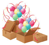 The balloons and the boxes Royalty Free Stock Photography