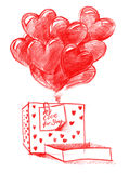 Balloons from Boxes for Valentine's day Royalty Free Stock Photo
