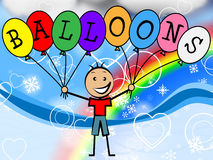 Balloons Boy Means Celebration Youth And Kids Royalty Free Stock Photos