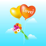 Balloons With Bunch Of Daisies. Vector Stock Images