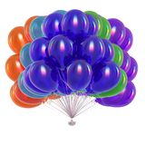 Balloons bunch multicolored, birthday party decoration colorful. 3d rendering vector illustration