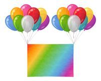 Balloons bunch with paper sheet. Two bunches of colorful balloons of various colors flying with sheet of rainbow paper for holiday design. Eps10, contains Royalty Free Stock Photography
