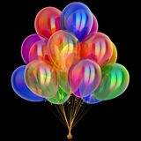 Balloons bunch party decoration multicolored. colorful birthday decoration. Carnival festive varicoloured symbol. 3d illustration, isolated on black Stock Photography