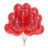 Balloons bunch red festive party decoration glossy. Party balloons red birthday decoration. Festive helium balloon bunch glossy. Holiday anniversary celebrate Stock Photography