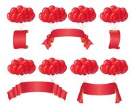 Balloons bunches with banners, set Royalty Free Stock Image