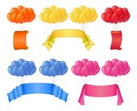 Balloons bunches with banners, set stock illustration