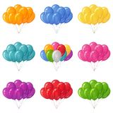 Balloons bunches, set. Set of colorful flying balloons bunches of various colors. Eps10, contains transparencies Royalty Free Stock Photo