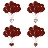 Balloons bunches, silhouette, set. Valentine holiday illustration, set of pictogram balloons bunches flying with symbolical hearts Stock Photo