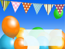 Balloons and bunting on blue sky with message Stock Photography