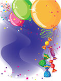 Balloons and candy card. Illustration of a balloons and candy card Stock Photos