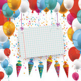 Balloons Candy Cones Checked Banner. Candy cones with paper banner and balloons on the white background royalty free illustration