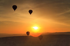 Balloons in Cappadocia at dawn sky Royalty Free Stock Photography