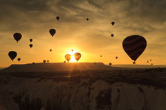 Balloons in Cappadocia at dawn sky Stock Photos