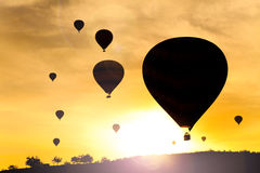 Balloons in Cappadocia at dawn sky Royalty Free Stock Images