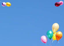 Balloons card. Blue greeting card with the flying balloons Royalty Free Stock Image