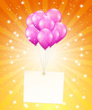 Balloons and a card Royalty Free Stock Images