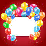Balloons and card on red background Royalty Free Stock Photos
