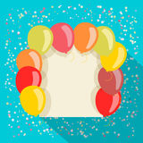 Balloons card in retro style. Background Stock Photo