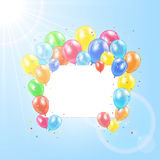 Balloons and card on sun background. Flying colored balloons with card in the sky, illustration Stock Photos