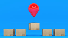 Balloons and cardboard. 3d rendering Stock Images
