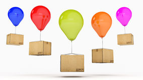 Balloons and cardboard. 3d rendering Stock Photo