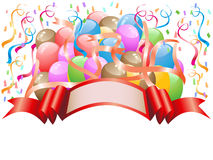 Balloons with celebration banner royalty free illustration
