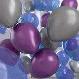 Balloons Celebration Silver Purple Blue royalty free stock photography