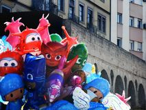 Balloons of children characters with roman aqueduct background,. Fun, party, historical, seville, spain Stock Images