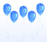 Balloons with a Christmas ornament. Set of blue balloons decorated Christmas snowflakes Royalty Free Stock Photo