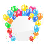 Balloons and circle card Stock Photo