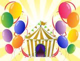 Balloons with a circus tent at the center Royalty Free Stock Photos
