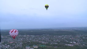 Balloons and city aerial view stock video footage