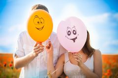Balloons, close face, smile Stock Images