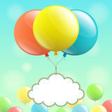 Balloons and cloud for congratulations Stock Images