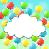 Balloons and cloud for congratulations Royalty Free Stock Photography