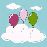 Balloons and clouds. Background with balloons in the clouds in a simple style Stock Images