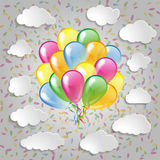 Balloons with clouds and colorful confetti  a grey. Multicolored balloons with clouds and colorful confetti  a grey background Royalty Free Stock Photo