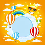 Balloons, clouds, rainbow and sun. Cheerful illustration for your text with balloons, clouds, rainbow and sun Stock Image