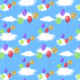 Balloons and clouds. Seamless pattern with balls in the sky Royalty Free Stock Photos