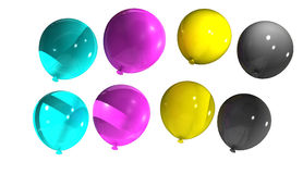 Balloons with cmyk colors Stock Photo