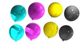 Balloons with cmyk colors. Cmyk,cyan,magenta,yellow,key,balloons Stock Photo
