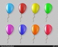 Balloons a coleção colorida do vetor isolada em um estilo realístico Imagens de Stock