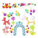 Balloons color glossy inflated in different balloon shape vector icons set. Color balloons in different shapes for wedding, birthday or celebration party gift or Royalty Free Stock Photo