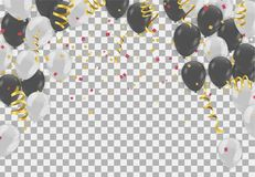 Balloons  Colored confetti with ribbons and festoons on the whit. E. Eps 10 vector file Royalty Free Stock Photos