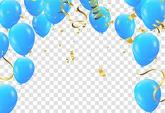 Balloons Colored confetti with ribbons and festoons on the whit. E. Eps 10 vector file Stock Illustration