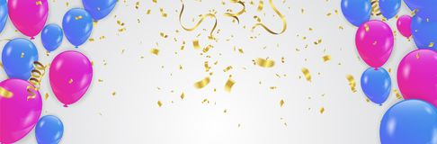 Balloons  Colored confetti with ribbons and festoons on the whit. E. Eps 10 vector file Stock Photo