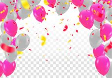 Balloons  Colored confetti with ribbons and festoons on the whit. E. Eps 10 vector file Royalty Free Stock Photo