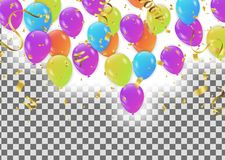 Balloons  Colored confetti with ribbons and festoons on the whit. E. Eps 10 vector file Stock Photography