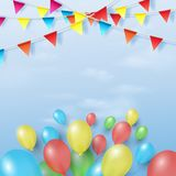 Balloons and colored flags on blue sky background. Vector illustration Royalty Free Stock Photos