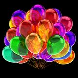 Balloons colorful, birthday party decoration multicolor beautiful. Helium balloon bunch translucent. anniversary celebration, holiday symbol. 3D illustration Stock Photo